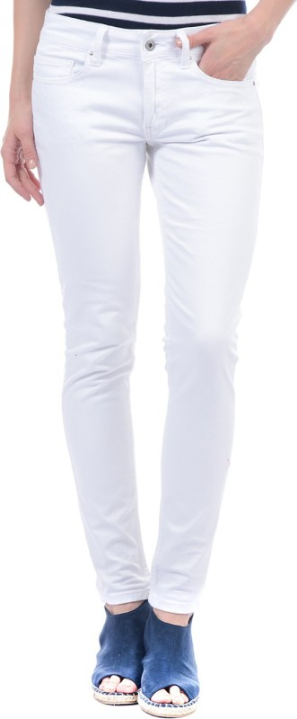 Pepe Jeans Slim Fit Womens White Trousers