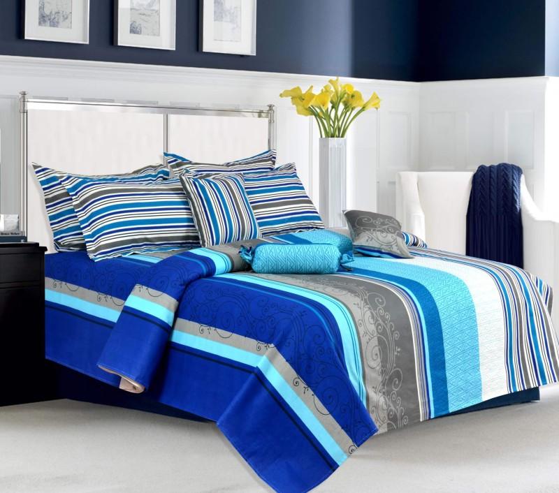 Salona Bichona 104 TC Cotton Double King Striped Bedsheet(1 King Size Bedsheet, 2 Pillow covers, Multicolor)