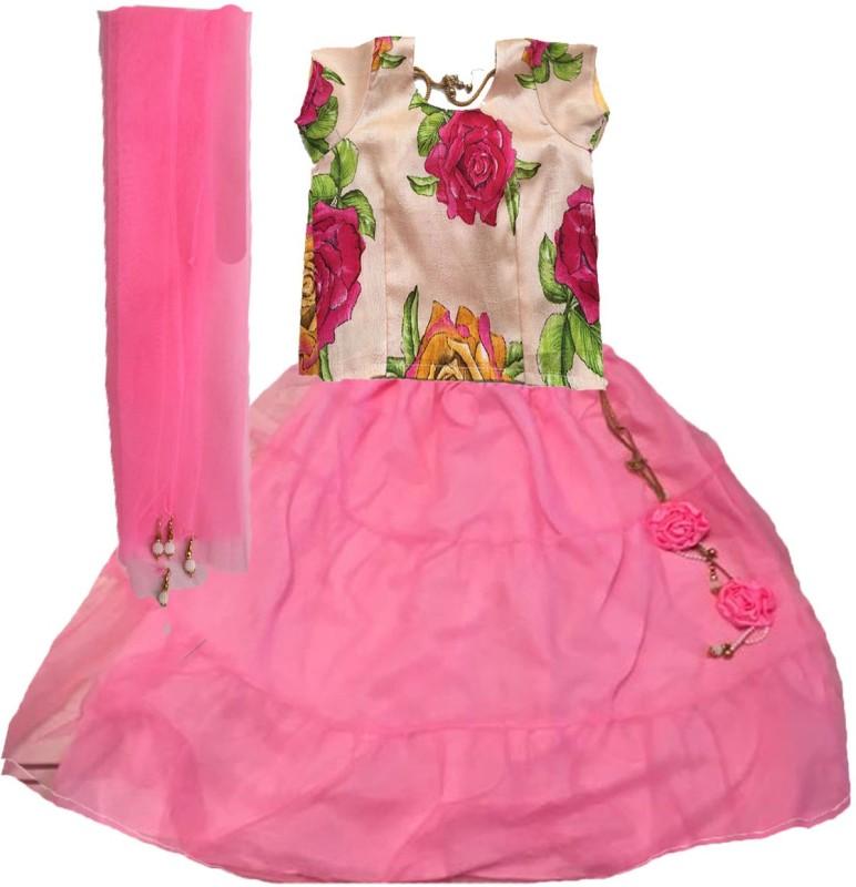 Aglare Girls Lehenga Choli Ethnic Wear Embroidered Lehenga, Choli and Dupatta Set(Pink,...