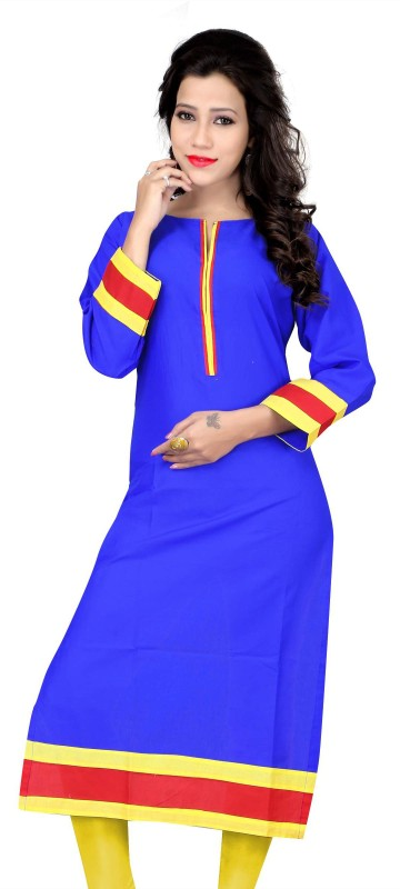KUKI Casual Solid Women Kurti(Blue)