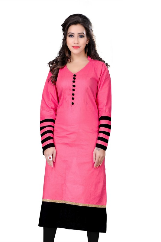 KUKI Casual Solid Women Kurti(Pink)