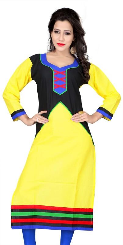 KUKI Casual Solid Women Kurti(Yellow)