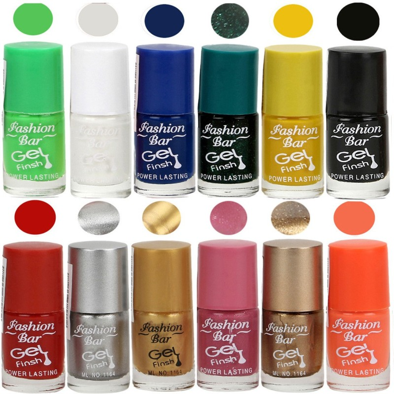 Fashion Bar Exclusive Color Range Nail Polish Set of 12 Green(Pack of 12)