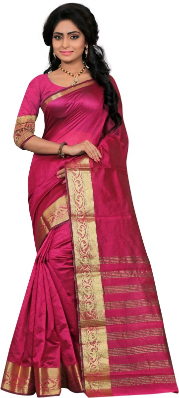 JUST FASHION Self Design Banarasi Tissue Saree(Pink)