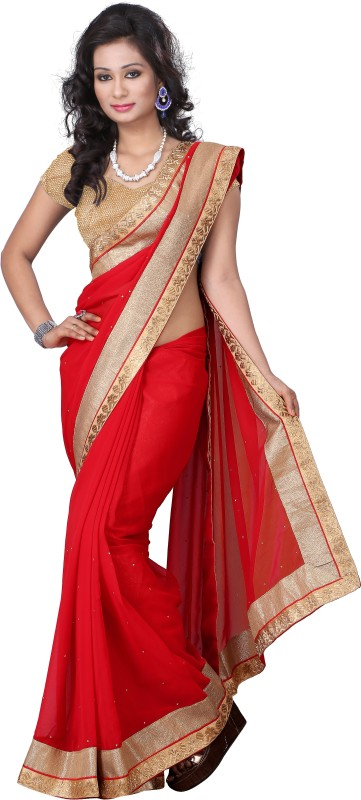 Aai Shree Khodiyar Art Solid Bollywood Chiffon Saree(Red)