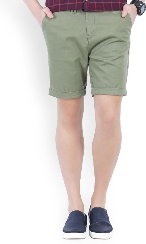 Wrangler Solid Mens Green Chino Shorts