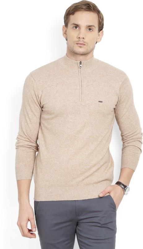 Numero Uno Solid Turtle Neck Casual Mens Beige Sweater