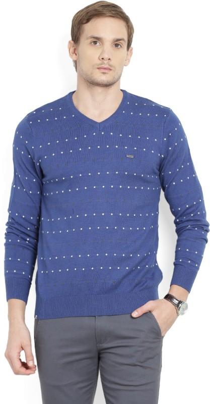 Numero Uno Printed V-neck Casual Mens Blue Sweater