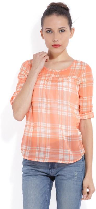 Bossini Casual Roll-up Sleeve Printed Women Orange Top