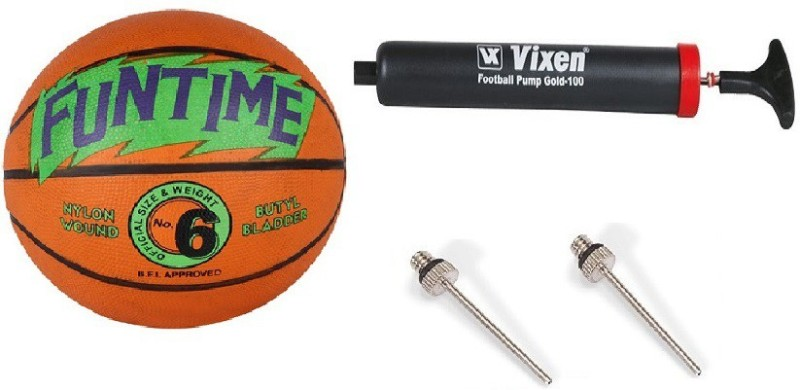 Cosco Combo of 3, 1 Funtime Basketball Size-6, 1 Vixen Pump, And Needle Basketball - Size: 6(Pack of 1, Orange & Green)