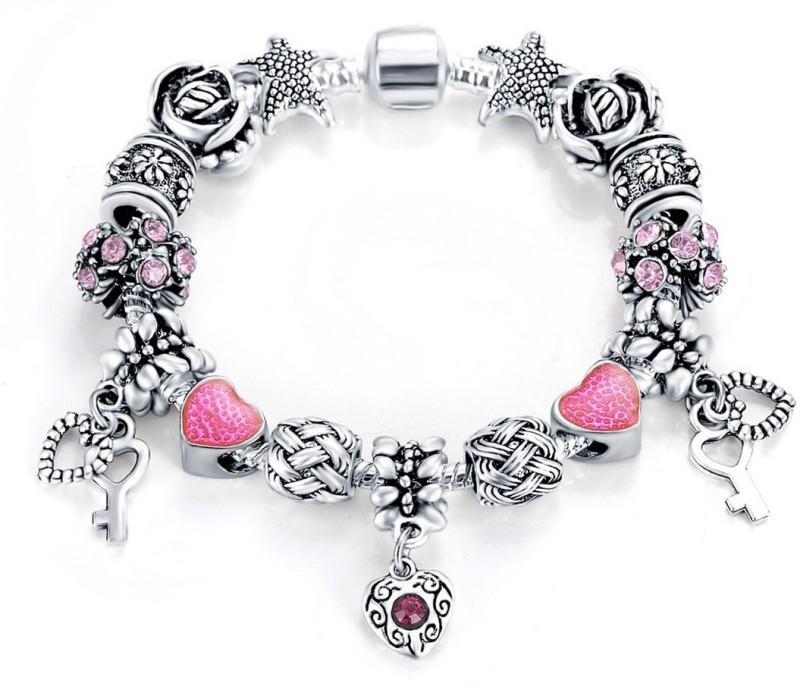 Jewels Galaxy Copper Crystal Silver Charm Bracelet