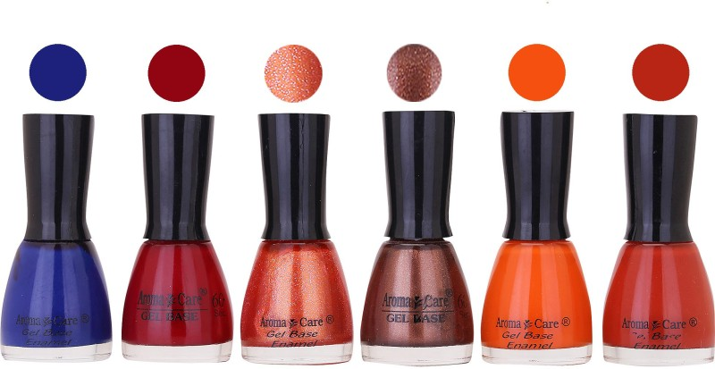 Aroma Care Candy Long Stay Quick Dry Nail Polish Combo Set of 6 ( Coffee, Orange, Light Red Shades) Deep Maroon, Sparkle Orange, Coffee, Blue, Orange, Light Red(Pack of 6)