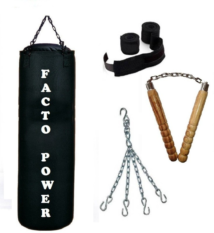 FACTO POWER 1.5 Feet Long, CANVAS Material, Black Color, Unfilled with Hanging Chain with 9 Feet Long Black Color Hand Wraps Pair & Wooden Handle Non Chaku Boxing Kit