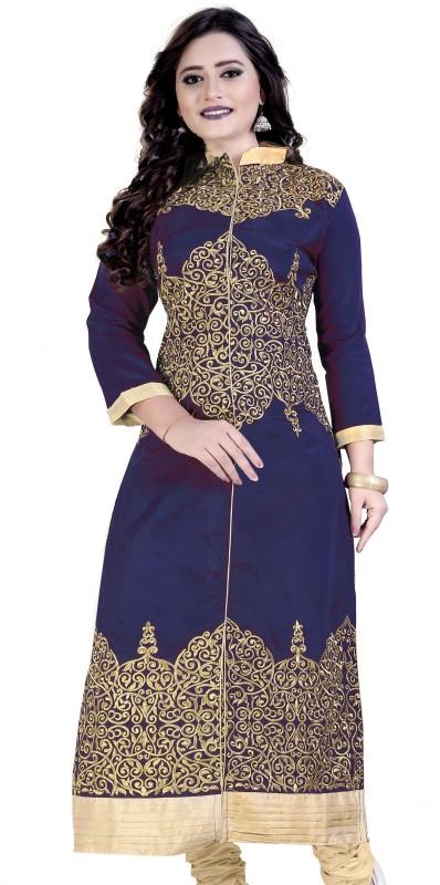 Rudra Fashion Women Embroidered Straight Kurta(Dark Blue, Gold)
