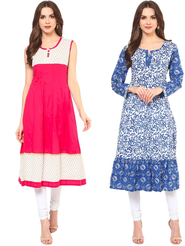 FabTag - Krapal Casual Printed Women Kurti(Pack of 2, Blue, Pink)