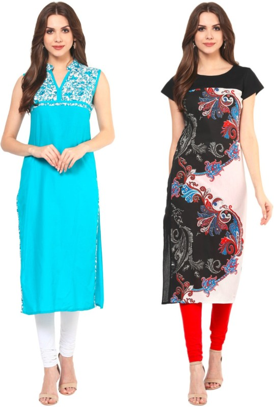 Krapal Casual Printed Women Kurti(Pack of 2, Blue, Black)