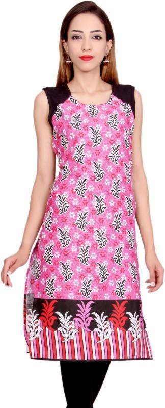 Krapal Casual Printed Women's Kurti(Pink)