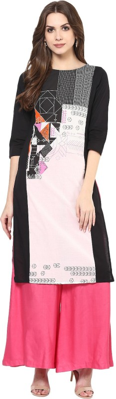 Krapal Casual Printed Women's Kurti(Black, White)