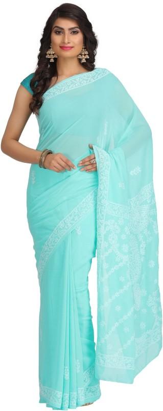 Ada Embroidered Lucknow Chikankari Handloom Faux Georgette Saree(Green)