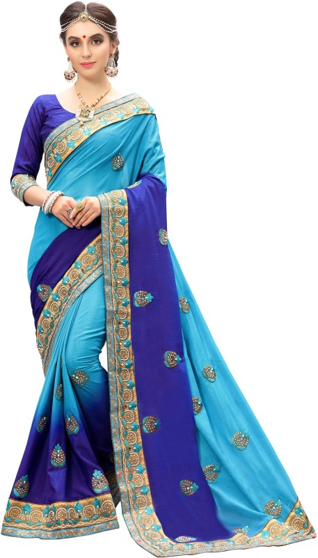 Pragati Fashion Hub Embroidered Bollywood Chiffon, Chiffon Saree(Blue, Light Blue)