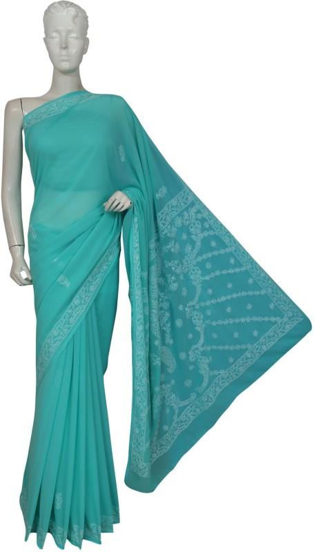 Ada Embroidered, Solid Lucknow Chikankari Handloom Faux Georgette Saree(Green)