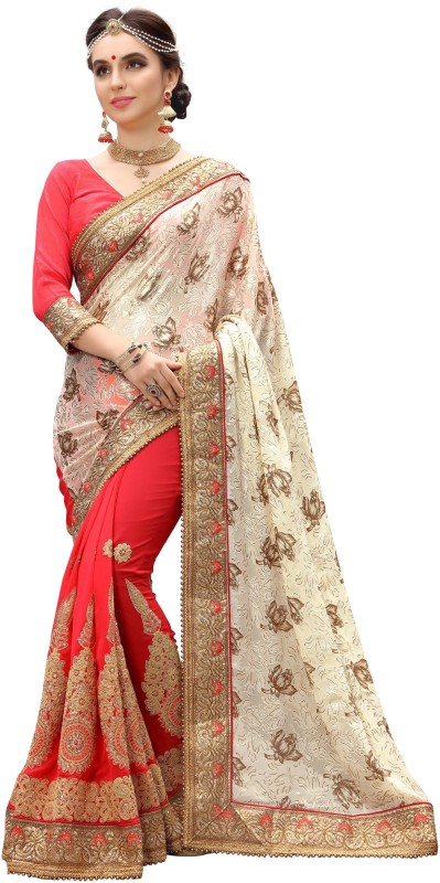 Pragati Fashion Hub Embroidered Bollywood Brasso, Georgette Saree(Beige, Pink)