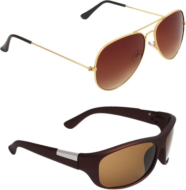 Zyaden Aviator, Wrap-around Sunglasses(Brown, Brown) image