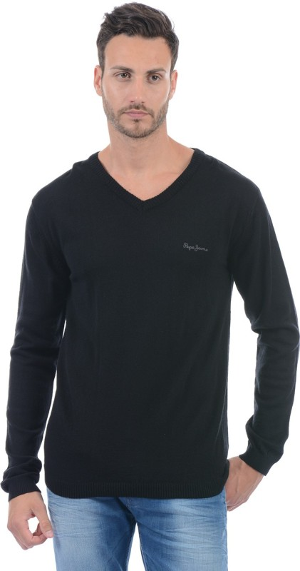 Pepe Jeans Solid V-neck Casual Men Black Sweater