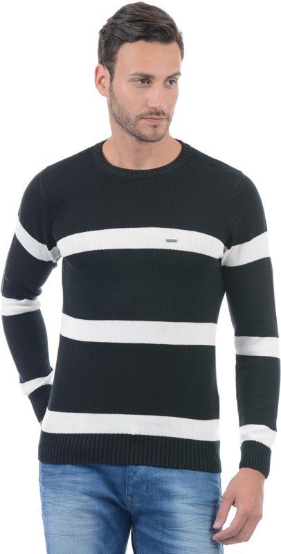 Pepe Jeans Striped Round Neck Casual Men Black Sweater