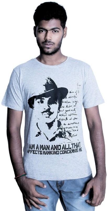 Fotachu Printed Men Round Neck Grey T-Shirt