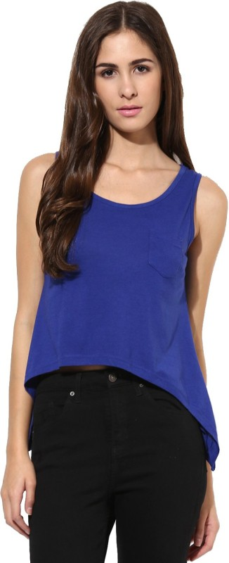 Espresso Casual Sleeveless Solid Women Dark Blue Top