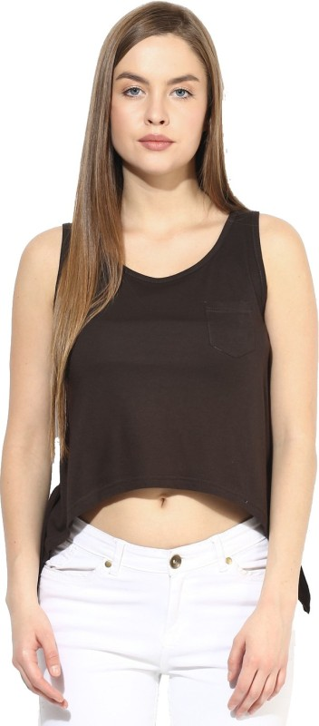 Espresso Casual Sleeveless Solid Women Brown Top
