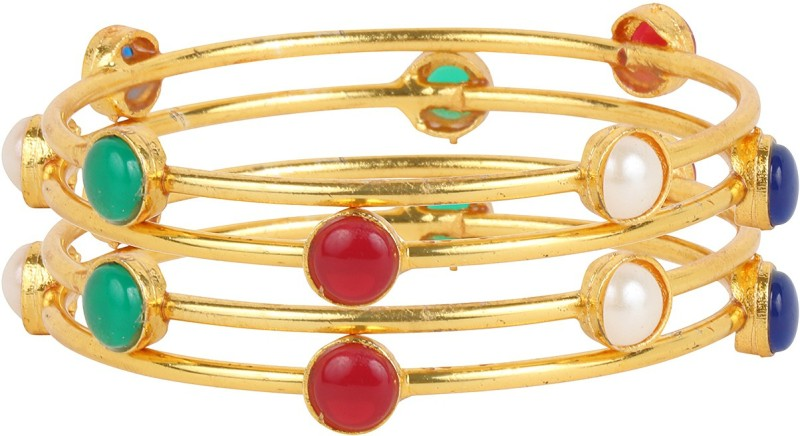 Beunew Alloy Gold-plated Bangle Set(Pack of 4)