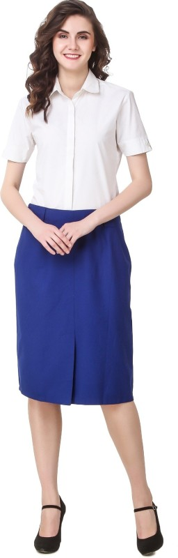99 Affair Solid Women Regular Blue Skirt