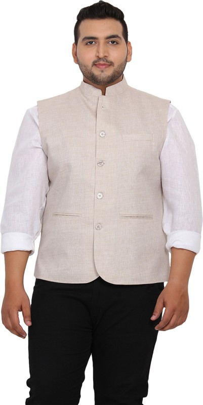 John Pride Sleeveless Solid Men's Nehru Linen Jacket