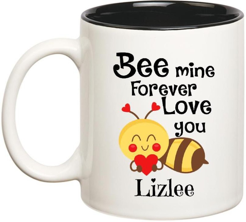 Huppme Love You Lizlee Bee mine Forever Inner Black Ceramic Mug(350 ml)