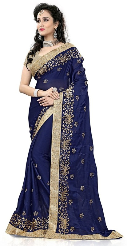 Prabhas Embroidered, Embellished Fashion Satin Saree(Dark Blue)