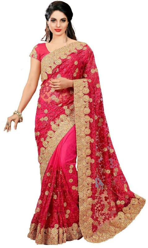 UJJWAL CREATION Embroidered Fashion Net Saree(Multicolor)