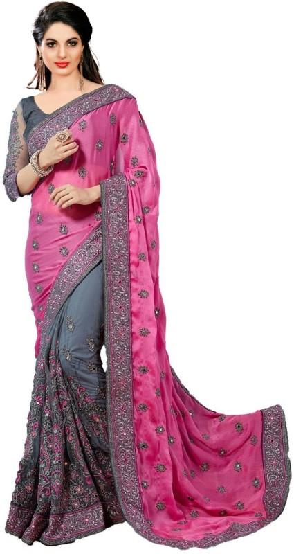 Panash Trends Embroidered Fashion Satin, Net Saree(Pink, Grey)