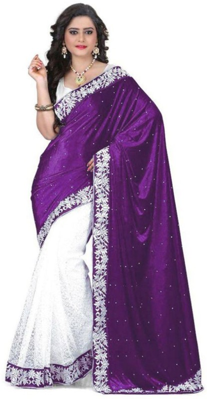 Prabhas Embellished Fashion Net, Velvet Saree(Purple, White)