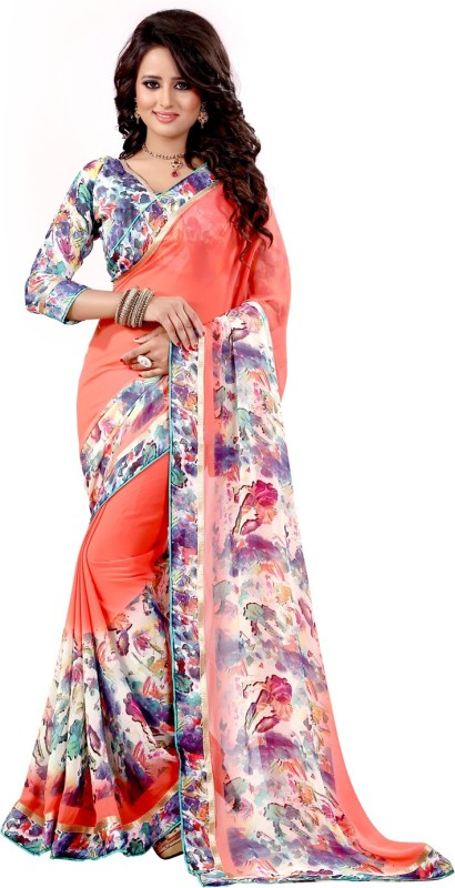Granth Self Design Bollywood Georgette Saree(Orange)