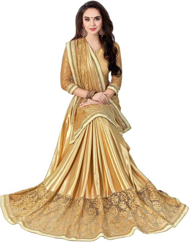 Aarti Apparels Embroidered Bollywood Shimmer Fabric Saree(Beige)