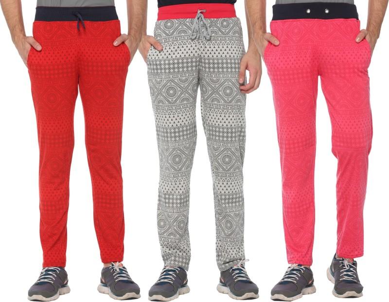 Shaun Printed Men's Red, Pink, Grey Track Pants