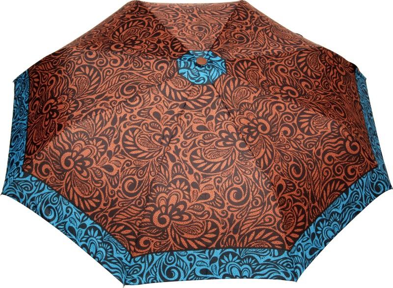 FabSeasons Fancy Printed Umbrella for Rains and All Seasons Umbrella(Brown, Black)