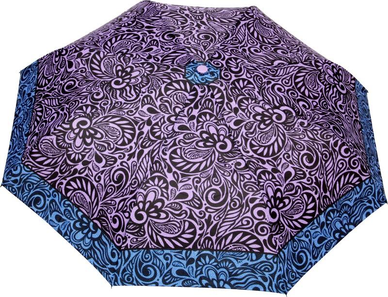 FabSeasons Fancy Printed Umbrella for Rains and All Seasons Umbrella(Purple, Black)