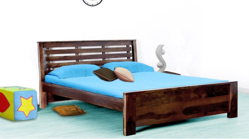 Vintej Home woodser Queen size Solid Wood Without Storage Contemporary style bed in Provincial Teak Finish by Vintage Home Solid Wood Queen Bed(Finish Color - Provincial Teak)