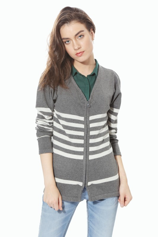 People Women Zipper Striped Cardigan