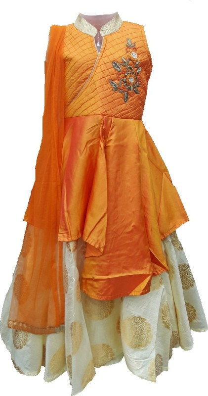 POGO Girls Lehenga Choli Ethnic Wear Self Design Lehenga, Choli and Dupatta Set(Orange, Pack of 1)