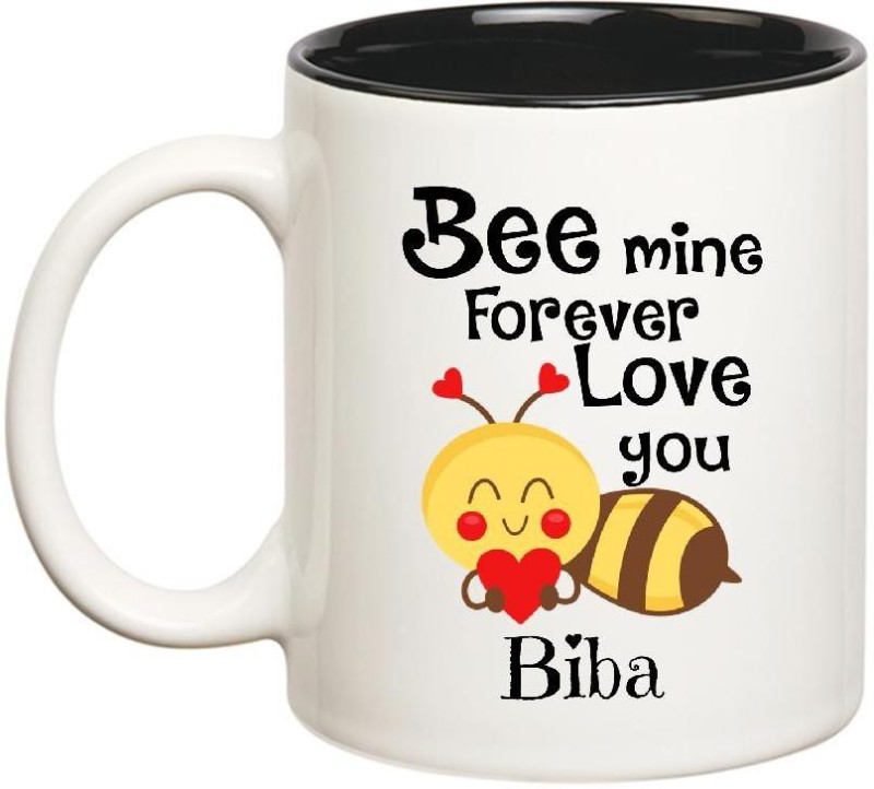 Huppme Love You Biba Bee mine Forever Inner Black Ceramic Mug(350 ml)