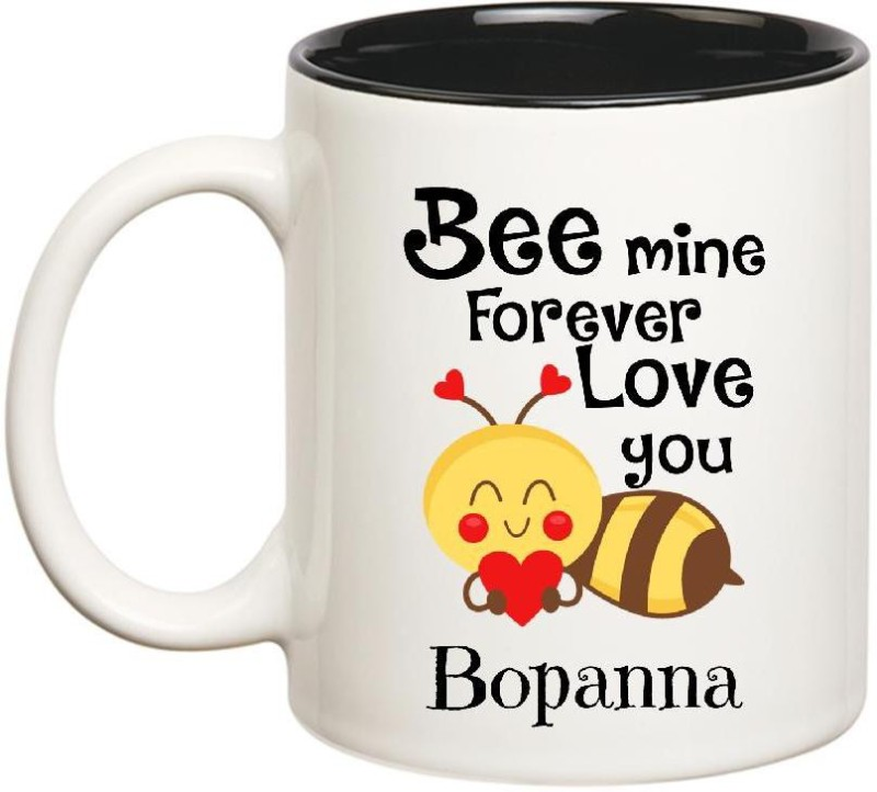 Huppme Love You Bopanna Bee mine Forever Inner Black Ceramic Mug(350 ml)